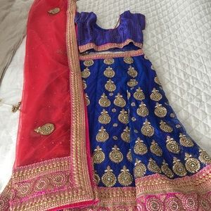Lengha choli with brocade top and net dupatta